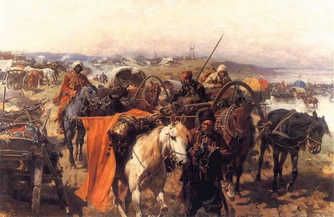 Cazaci care se refugiază în delta Dunării